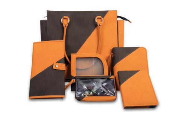 10821 Сумка оранжево-черная (внутри мешочек для пряжи и мини сумочка) KnitPro