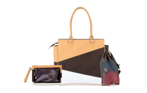 10841 Сумка бежево-бело-черная (внутри мешочек для пряжи и мини сумочка) KnitPro
