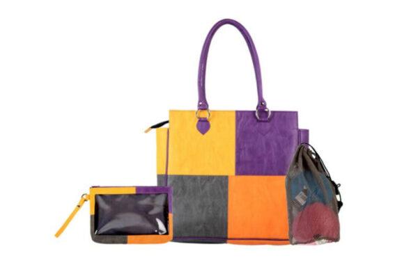 10846 Сумка фиолетово-черно-оранжевая (внутри мешочек для пряжи и мини сумочка) KnitPro