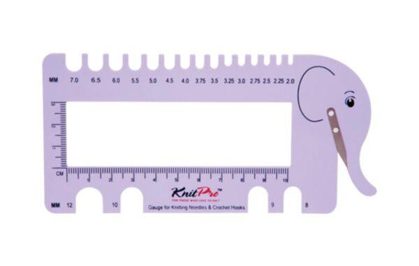 10995 Шкала размеров для спиц и крючков с резаком для пряжи KnitPro (лиловая)