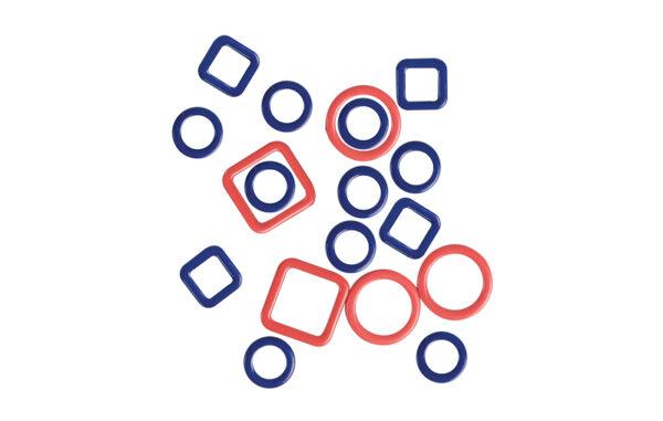 45514 Металлические маркера Linea (набор 40шт - круглые 10.0 mm, 6.0 mm; квадратные 10.0 mm, 6.0mm) KnitPro
