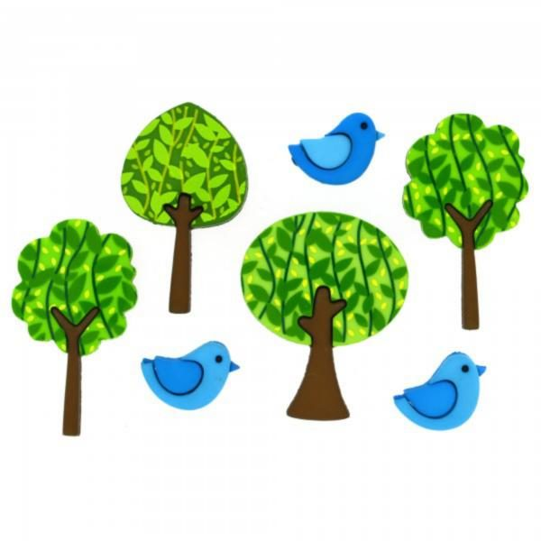 8322 Декоративные пуговицы. Лес с птичками | Dress it up США