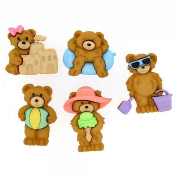 8314 Декоративные пуговицы. Медведи на пляже | Dress it up США