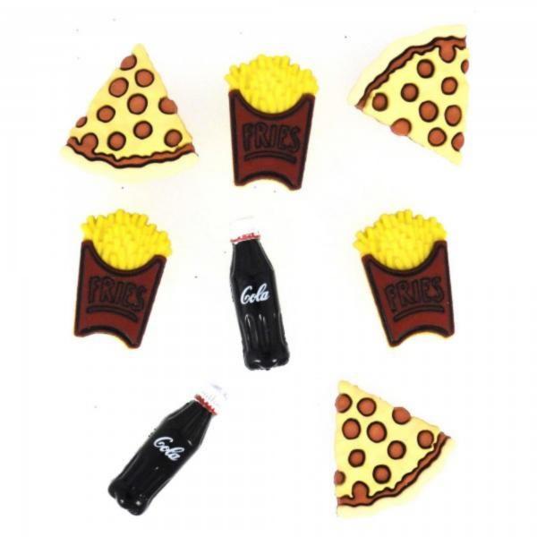 3597 Декоративные пуговицы. Пицца с Колой | Dress it up США