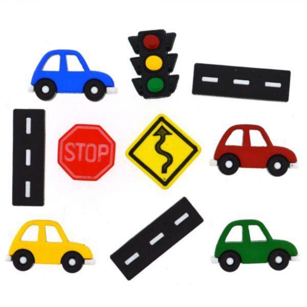 9355 Декоративные пуговицы. Дорожные знаки и автомобили  | Dress it up США