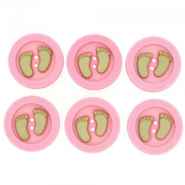 5873 Декоративные пуговицы. Ножки ребенка (розовые) | Dress it up США