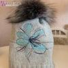 Женская шапка голубая с вышивкой и мехом Wisteria