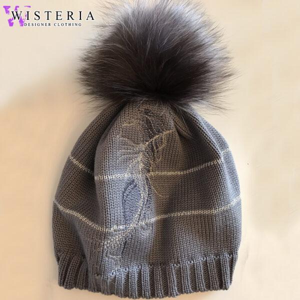 Женская шапка серая с декором и мехом от Wisteria