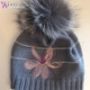 Женская серая шапка с декором и мехом от Wisteria
