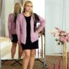 Женский кардиган розовый с вышивкой от Wisteria