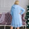 Женский кардиган голубой с капюшоном от Wisteria