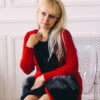Женский кардиган красный с меховыми карманами от Wisteria