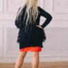 Женский кардиган черный с меховыми карманами от Wisteria