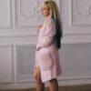 Женский кардиган нежно-розовый с меховыми карманами от Wisteria
