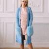 Женский кардиган голубой с меховыми карманами от Wisteria