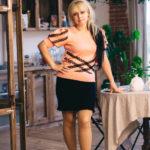 Женская кофточка персиковая с кружевом от Wisteria