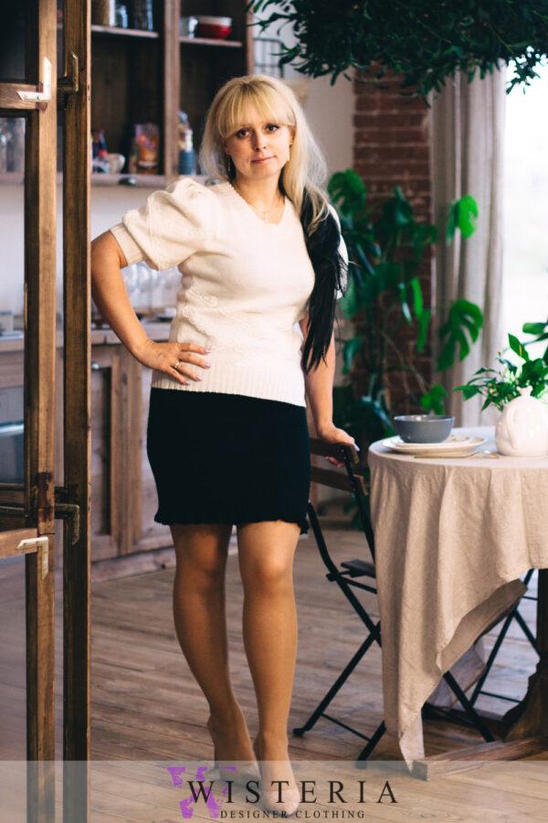 Женская кофточка белая с кружевом от Wisteria