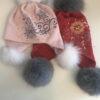 Розовая детская шапка с мехом песца от Wisteria 2