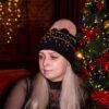 Черная шапка с мехом песца от Wisteria