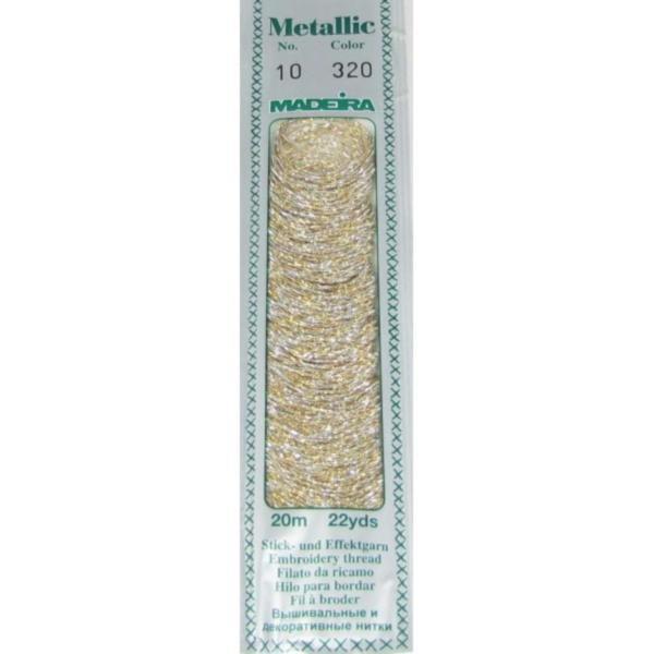 320 Мулине Madeira Metallic Perle №10, 2-х слойные, спираль 20м