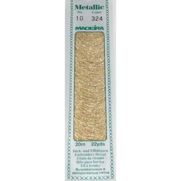 324 Мулине Madeira Metallic Perle №10, 2-х слойные, спираль 20м