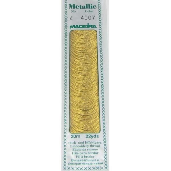 4007 Мулине Madeira Metallic Mouline №4, 4-х слойные, спираль 20 м.