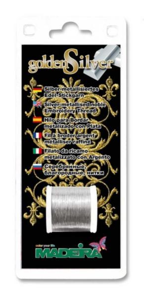 9664S  Нитки для вышивания и отделки GoldenSilver (100 м) Silver