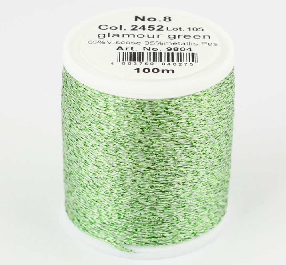 2452/9804 Glamour №8 вискозная нить с металлизированным эффектом, 100м