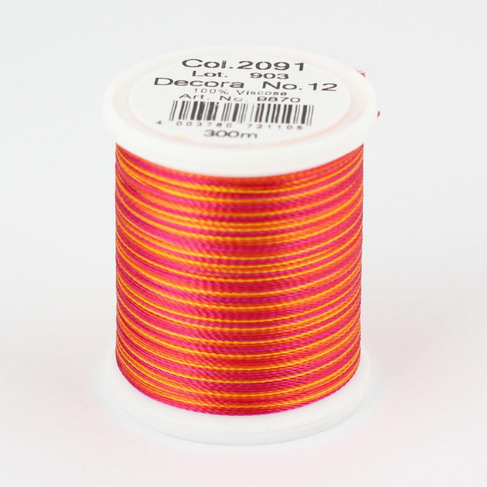 2091/9870 DECORA №12 100% вискозная нить с объемным кручением, 300 м
