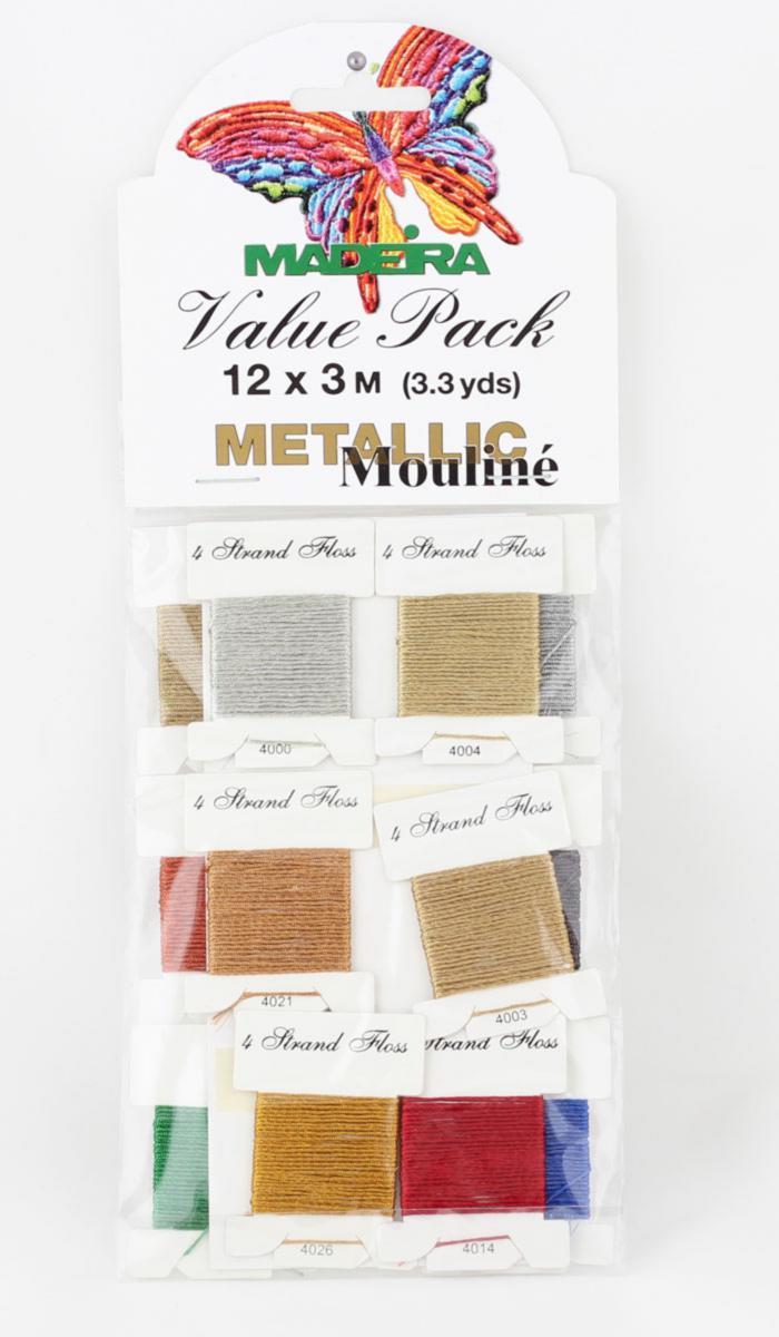 9706 Metallic №4 12 карточек х 3 м блестящие нитки для вышивания (Value Packs)