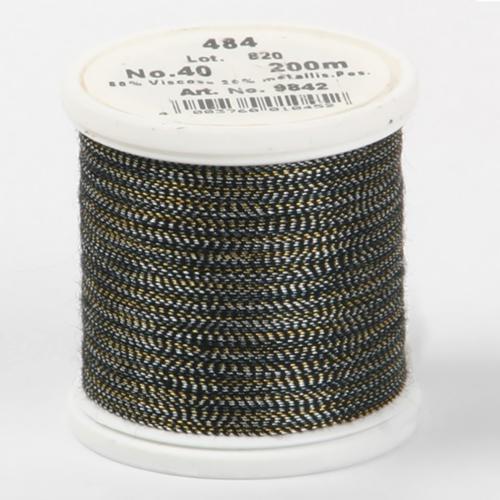 484/9842 Metallic №40 вискоза/металлизированный полиэфир для вышивания, 200 м