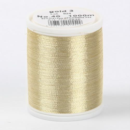 9846/gold 3 Metallic №40 вискоза/металлизированный полиэфир для вышивания, 1000 м