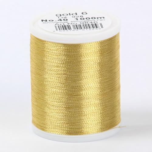 9846/gold6 Metallic №40 вискоза/металлизированный полиэфир для вышивания, 1000 м
