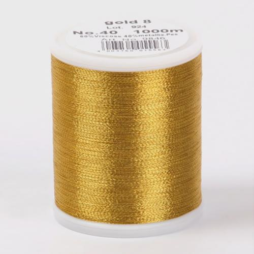 9846/gold8 Metallic №40 вискоза/металлизированный полиэфир для вышивания, 1000 м