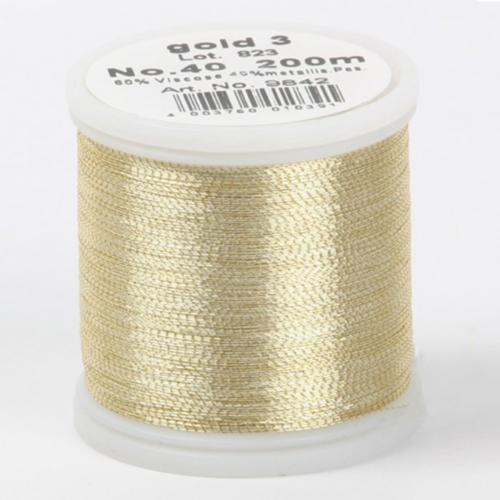 gold 3/9842 Metallic №40 вискоза/металлизированный полиэфир для вышивания, 200 м