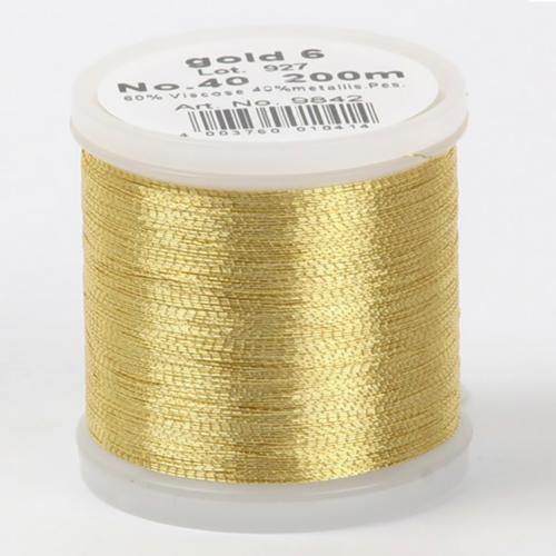 gold 6/9842 Metallic №40 вискоза/металлизированный полиэфир для вышивания, 200 м