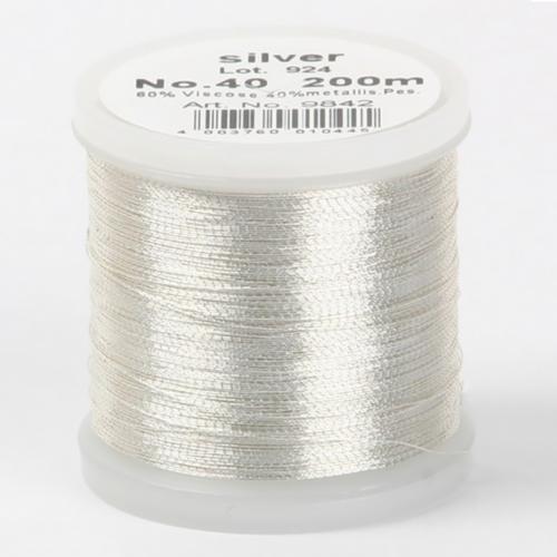 silver/9842 Metallic №40 вискоза/металлизированный полиэфир для вышивания, 200 м