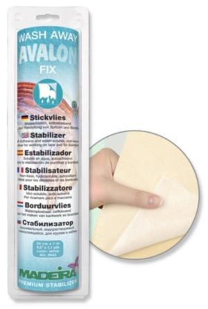 9443 Стабилизатор Avalon Fix водорастворимый, самоклеющийся, для всех видов вышивки, кружев и каймы, 24см 1м Madeira