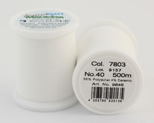 7803/9848 Frosted MATT экстра матовые вышивальные нити, 96% полиэстер, 4% керамика, 500 м