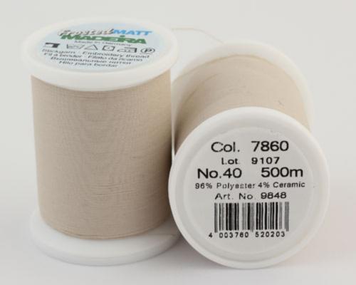 7860/9848 Frosted MATT экстра матовые вышивальные нити, 96% полиэстер, 4% керамика, 500 м