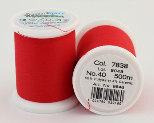 7838/9848 Frosted MATT экстра матовые вышивальные нити, 96% полиэстер, 4% керамика, 500 м
