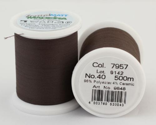 7957/9848 Frosted MATT экстра матовые вышивальные нити, 96% полиэстер, 4% керамика, 500 м
