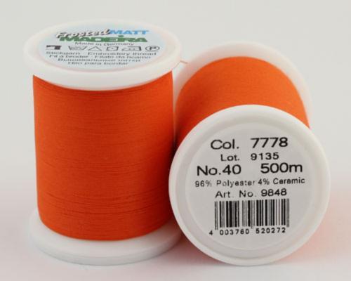 7778/9848 Frosted MATT экстра матовые вышивальные нити, 96% полиэстер, 4% керамика, 500 м