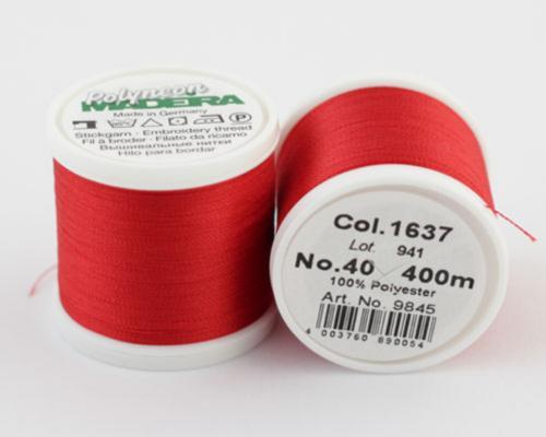 1637/9845 Polyneon №40 высокопрочная вышивальная нить, 100% полиэстер, 400 м