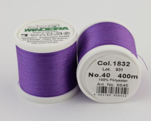 1832/9845 Polyneon №40 высокопрочная вышивальная нить, 100% полиэстер, 400 м
