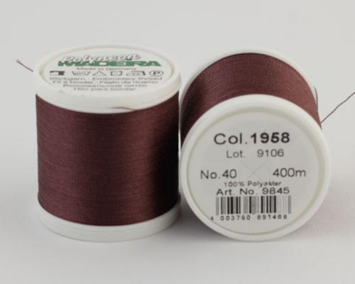 1958/9845 Polyneon №40 высокопрочная вышивальная нить, 100% полиэстер, 400 м