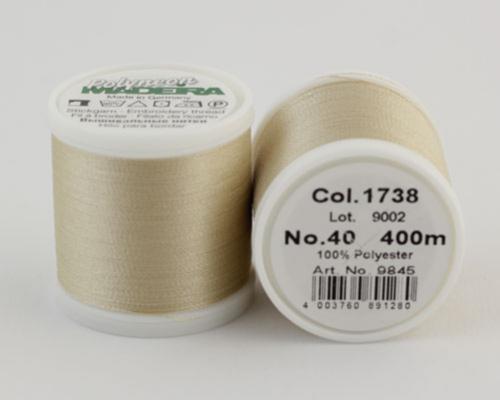 1738/9845 Polyneon №40 высокопрочная вышивальная нить, 100% полиэстер, 400 м
