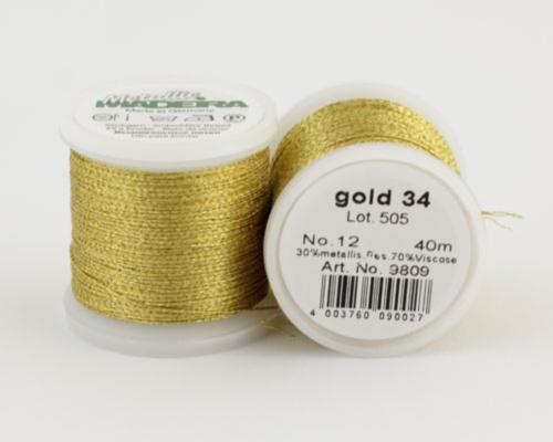 gold 34/9809 METALLIC №12 металлиз. полиэфир, 3-х слойная нить для вышивки и плетения, 40 м
