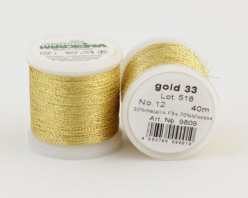 gold 33/9809 METALLIC №12 металлиз. полиэфир, 3-х слойная нить для вышивки и плетения, 40 м