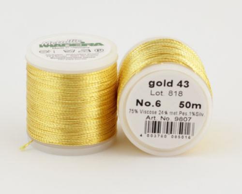 gold 43/9807 METALLIC №6 металлиз. полиэфир, нить для вышивки и плетения, 50 м